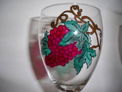 service de verres à vin grappe de raisin
