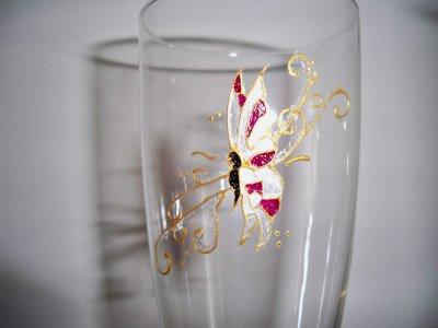 service de flute à champagne papillon à paillettes