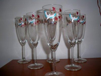 service de flute à champagne oiseau et fleurettes