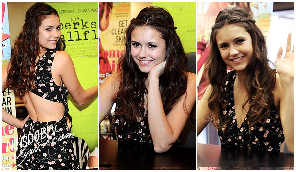 """// Nina poses outside Barnes & Nobel, signed copies of her 'Seventeen' magazine cover for fans at Barnes & Noble and also attended the """"Perks Of Being A Wallflower"""" Atlanta screening at AMC Parkway Pointe on September 15, 2012 in Atlanta, Georgia."""