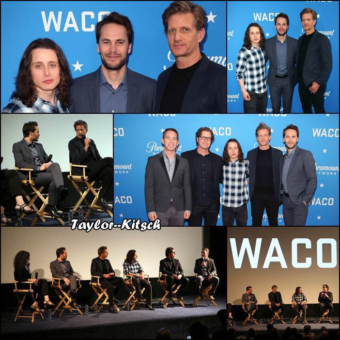Taylor avec une partie du casting de WACO au the Academy of Television Arts and Sciences' screening and panel discussion au Sherry Lansing Theatre at Paramount Studios - le 9 Mai -