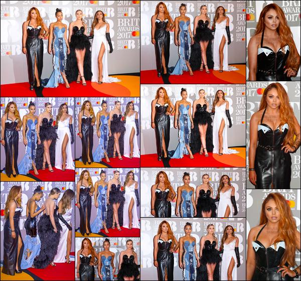 - .22/02/17. ─ Les  Little Mix  étaient attendue à la cérémonie des « BRIT awards » situant dans la ville de Londres    'Les filles ont reçue leur tout premier award de leur carrière dans la catégorie Best British Single, où elles ont été nominées avec Shout Out to My Ex -