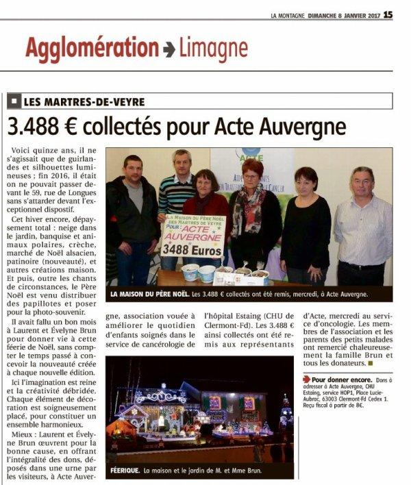 Article du Journal la Montagne ( 8 Janvier 2017 )
