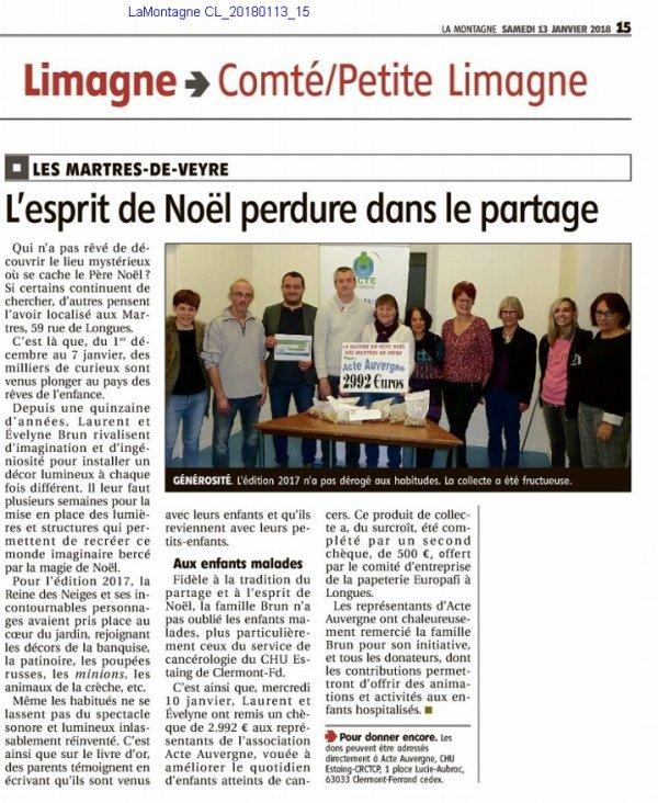 L'article de la remise des dons à      l'hôpital Estaing de Clermont Ferrand