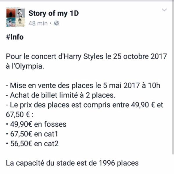 Les petit info sur concert harry styles