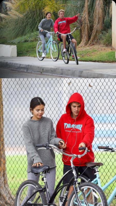Selena et justin en velo