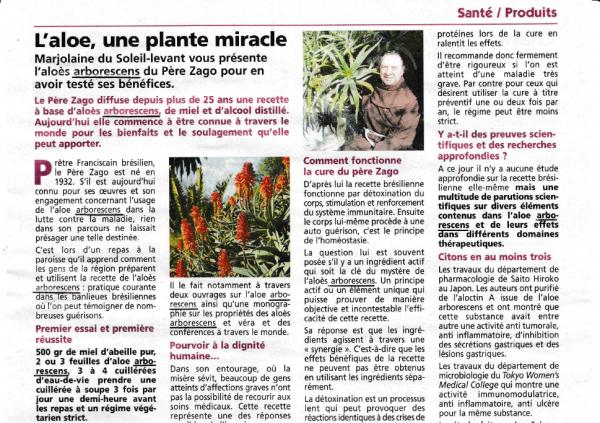 """Revue de presse sur l'Aloe Arborescens """"Soleil Levant"""" n 229 mai 2015"""
