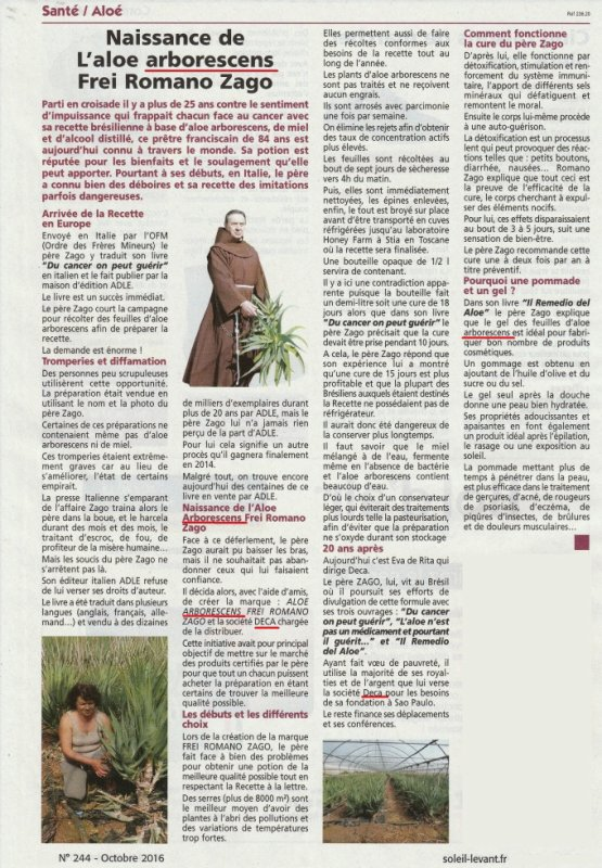 Dernier article de Presse sur l'Aloe Arborescens DECA (octobre 2016)