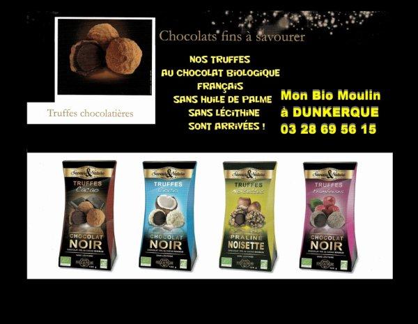 Nos Truffes au chocolat Biologique FRANçAIS et SANS HUILE de PALME , SANS LéCiTHiNE sont arrivées !