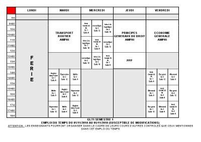 Emploi du temps GLT 1 du 01/11 au 05/11