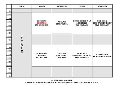 Emploi du temps Alternance 1 du 01/11 au 05/11