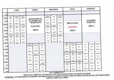 Emploi du temps GLT 1 du 15/11 au 19/11
