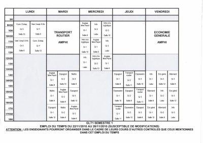 Emploi du temps GLT 1 du 22/11 au 26/11