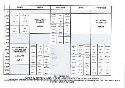 Emploi du temps GLT1 du 29/11 au 3/12