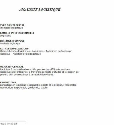 Analyste logistique