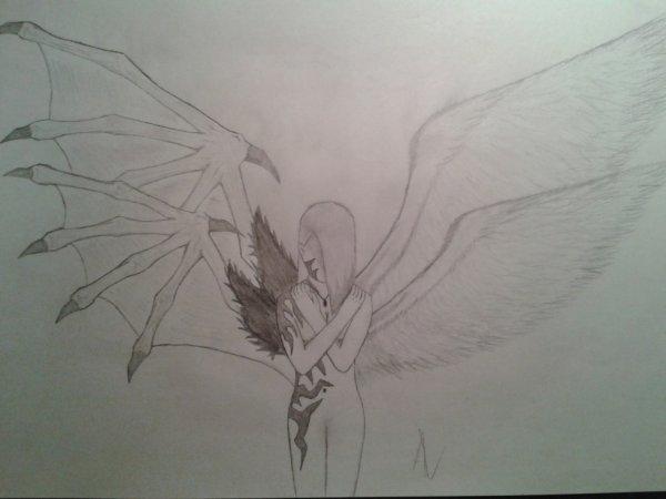 Dessin : Jeune fille semi démon semi ange