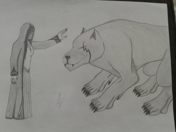 Dessin : La magicienne et le loup