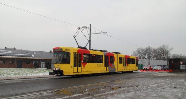 Retour du tram à Gosselies. 26 février 2013.