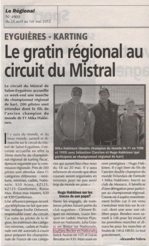 """Article de journal """" Le régional """""""