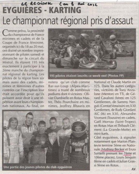 """Articles de journaux """" La provence """" et """" Le régional """" datant du 2 et 3 Mai 2012"""