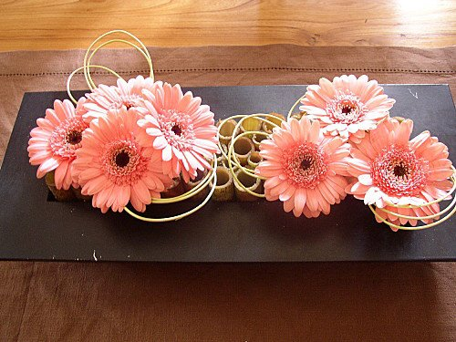 composition gerberas orange