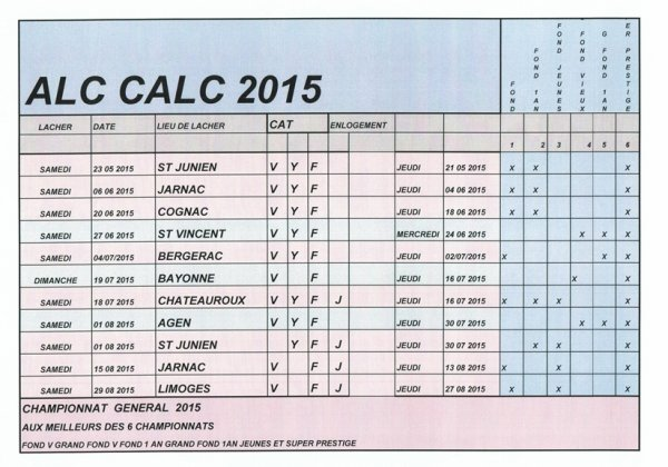 PROGRAMME DU CALC 2015