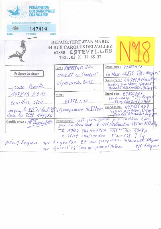 N°18 PRINCESSE OFFERTE PAR JEAN MARIE DEPARETERE N°147819/16
