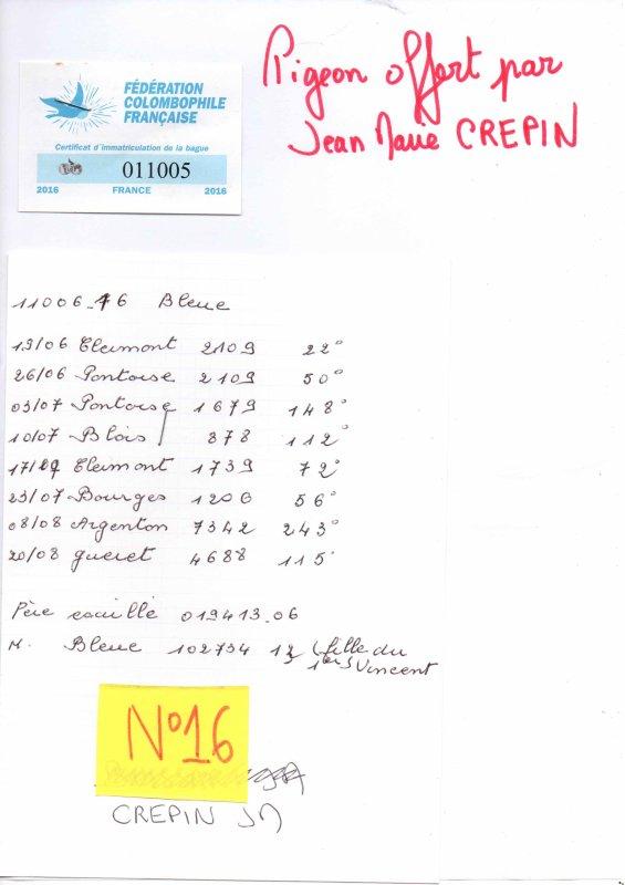 N°16 PRINCESSE OFFERTE PAR JEAN MARIE CREPIN N°11005/16