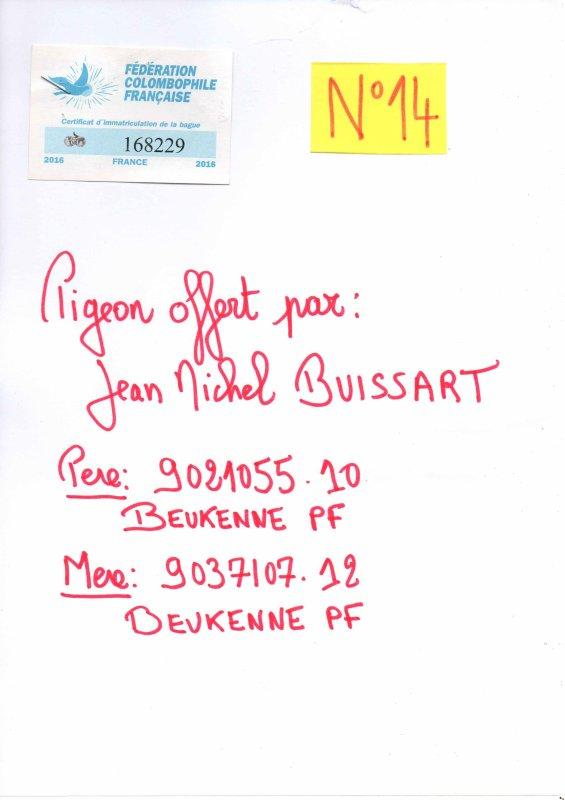 N°14 PRINCESSE OFFERTE PAR JEAN MICHEL BUISSART N°168229/16
