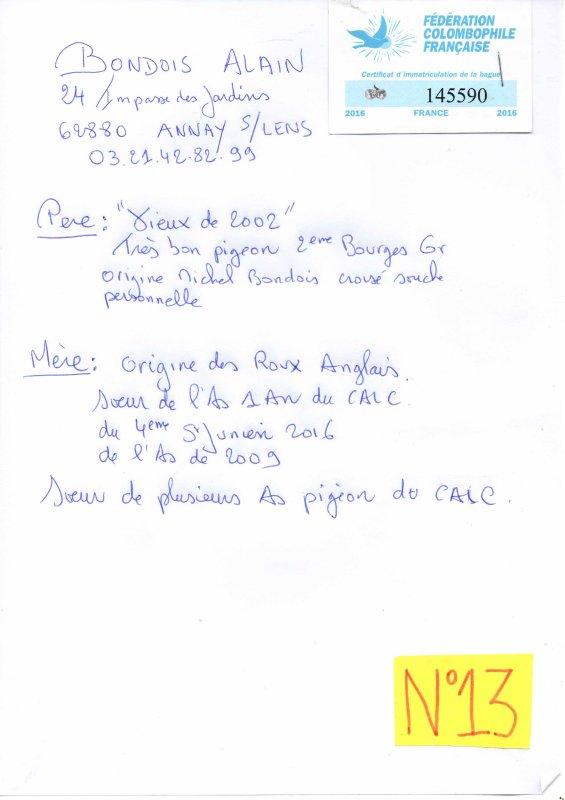 N°13 PRINCESSE OFFERTE PAR ALAIN BONDOIS N°145990/16