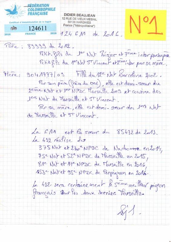 N°1 PRINCESSE OFFERTE PAR DIDIER BEAUJEAN N°124611/16