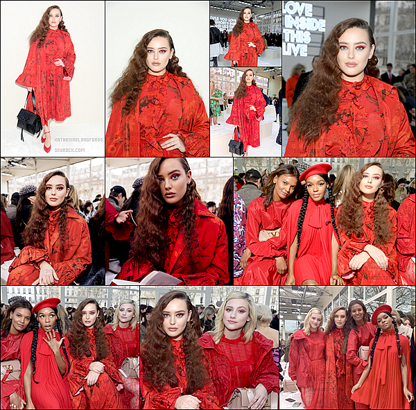 4 Mars 2019: ▬A l'occasionde la Fashion Week de Paris, Katherine assistait au défilé de la marque «Valentino». Elle assistait donc au défilé de la collection Automne/Hiver 2019-2020. Je suis pas fan de la tenue c'est donc un flop pour moi.