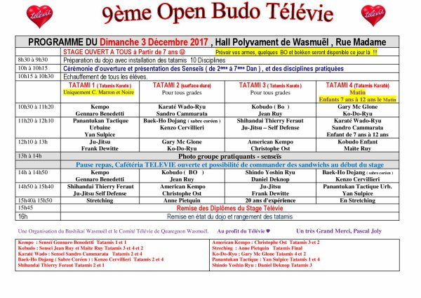 9ème OPEN BUDO TELEVIE , Dimanche 3 Décembre 2017