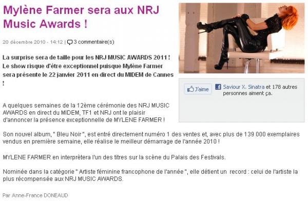 exclu mfetnous: le site tf1 parle de mylène aux nrj music awards