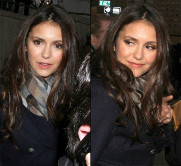 11 février 2012 ♣ Nina Dobrev s'est rendue aujourd'hui à la Fashion Week de New-York, et plus précisément au défilé Herve Leger By Max Azria.