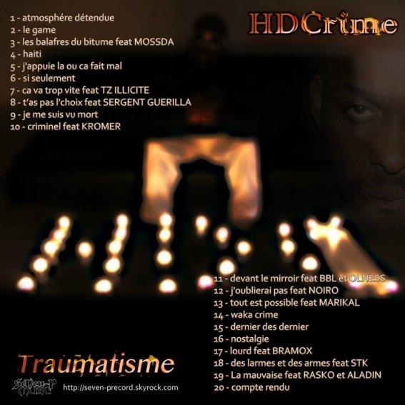"Tracklist du projet ""Traumatisme"""
