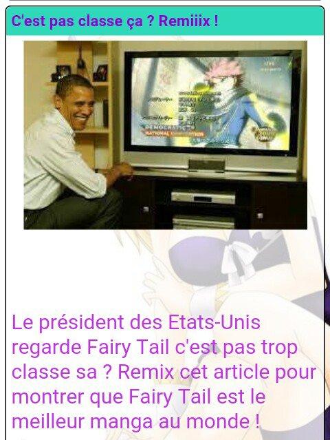 L'ancien présidant des USA et... Fairy Tail??!!