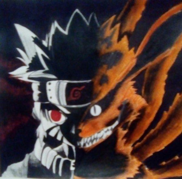 Dessin fait par une amie partit2:Naruto et Kyubi