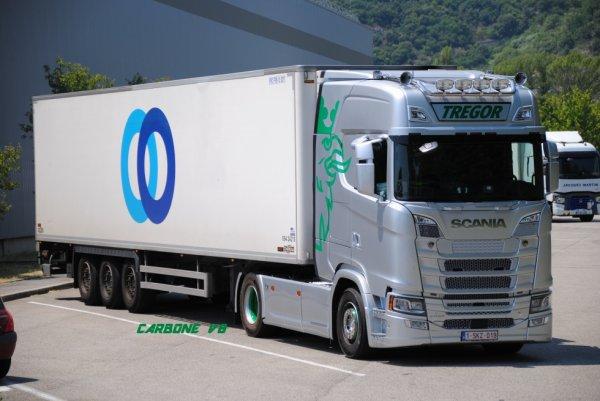 Transport Trégor. Scania S730. Tractionnaire STEF Belgium. Le Pouzin Juin 2017.