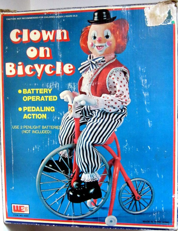 "AUTOMATE A BATTERIE MADE IN HONG-KONG "" CLOWN ON BICYCLE "" "" CLOWN A BICYCLETTE """