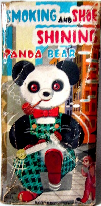 """AUTOMATE A BATTERIE MADE IN JAPAN - ALPS """" SMOKING AND SHOE SHINING PANDA BEAR """" """" PANDA QUI CIRE SES CHAUSSURES ET FUME SA PIPE """" VOIR VIDEO JOINTE"""
