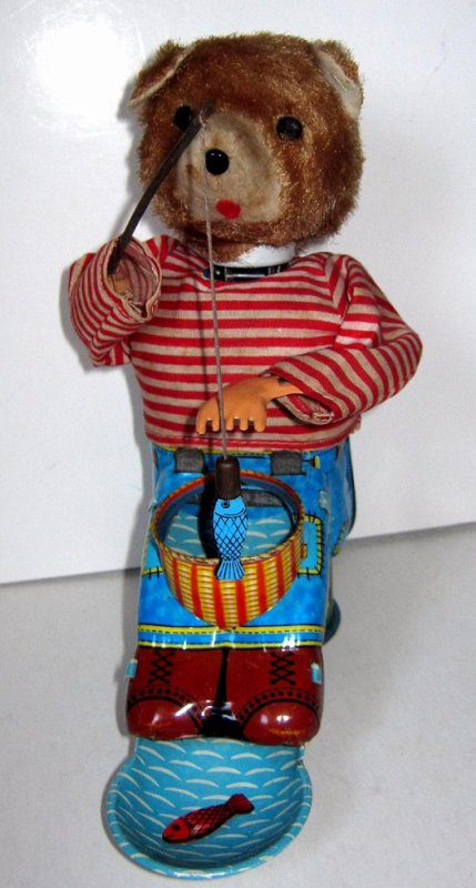 "AUTOMATE MECANIQUE MADE IN JAPAN - ALPS "" FISHING BEAR "" "" OURS A LA PÊCHE """