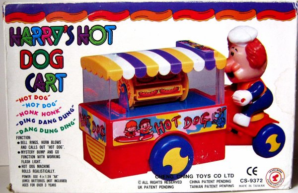 "AUTOMATE A BATTERIE MADE IN TAIWAN - CHENG CHING TOY Co "" HARRY'S HOT DOG CART "" "" HARRY'S VENDEUR DE HOT DOG """