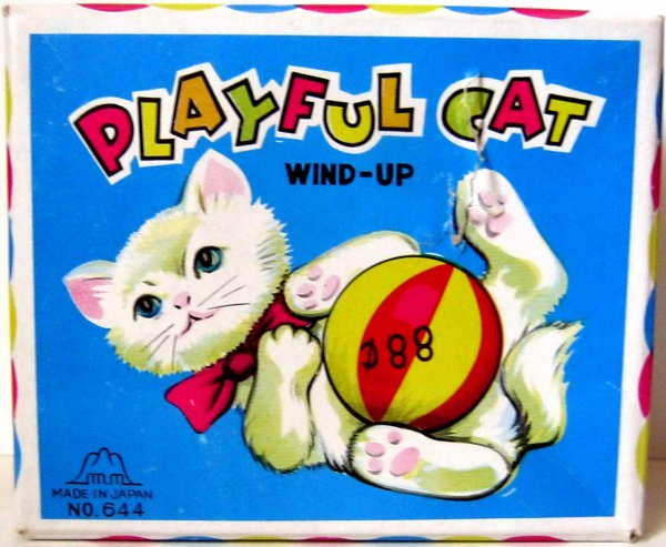 """AUTOMATE MECANIQUE MADE IN JAPAN - FUJI PRESS KOGYO """" PLAYFUL CAT """" """" CHAT QUI JOUE AVEC SA BALLE """""""