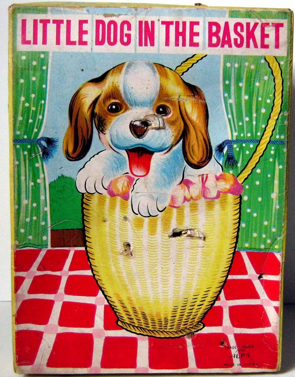 "AUTOMATE MECANIQUE MADE IN JAPAN - ALPS "" LITTLE DOG IN THE BASKET "" "" CHIEN DANS UN PANIER """