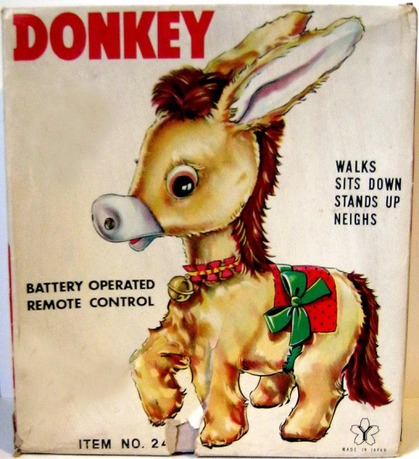 "AUTOMATE A BATTERIE MADE IN JAPAN - YONEZAWA "" DONKEY WALKS SITS DOWN STANDS UP NEIGHS "" "" ÂNE QUI MARCHE ET BRAIE "" VOIR VIDEO JOINTE"