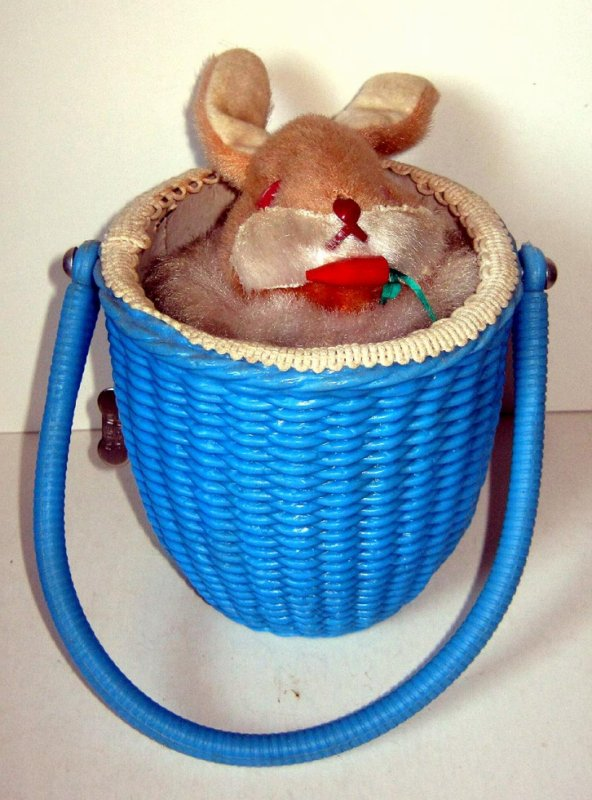 "AUTOMATE MECANIQUE MADE IN JAPAN - ALPS "" PUPPY BUNNY "" "" LAPIN DANS SON PANIER """