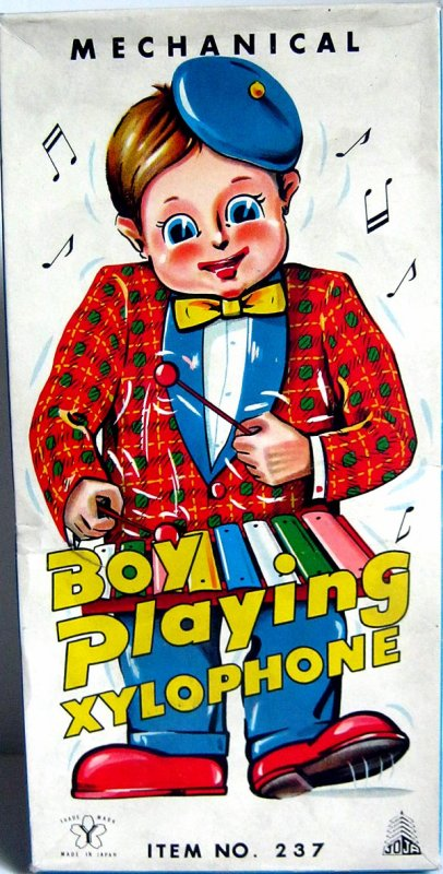 """AUTOMATE MECANIQUE MADE IN JAPAN - YONEZAWA """" BOY PLAYING XYLOPHONE """" """" LE GARCON JOUE DU XYLOPHONE """""""