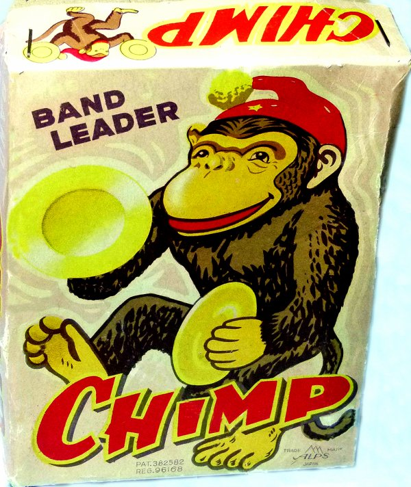 "AUTOMATE MECANIQUE MADE IN JAPAN - ALPS "" BAND LEADER CHIMP "" "" SINGE AVEC CYMBALES """