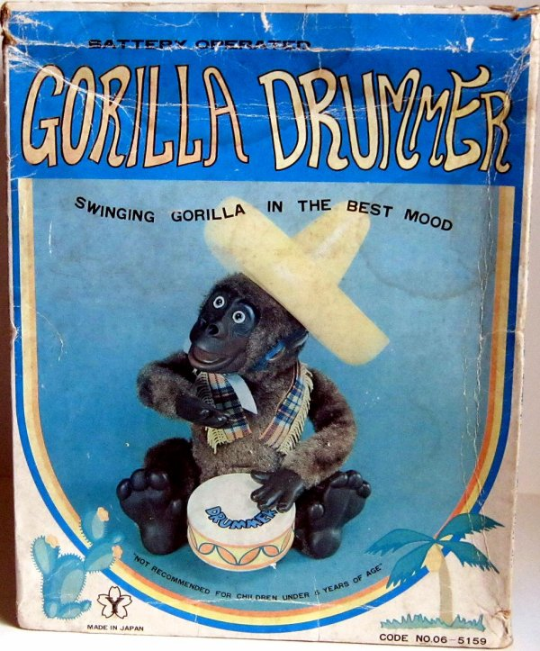"AUTOMATE A BATTERIE MADE IN JAPAN - YONEZAWA "" GORILLA DRUMMER "" "" GORILLE QUI JOUE DU TAMBOUR "" VOIR VIDEO JOINTE"